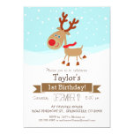 Christmas Winter Reindeer, Kid's Birthday Party Invitation