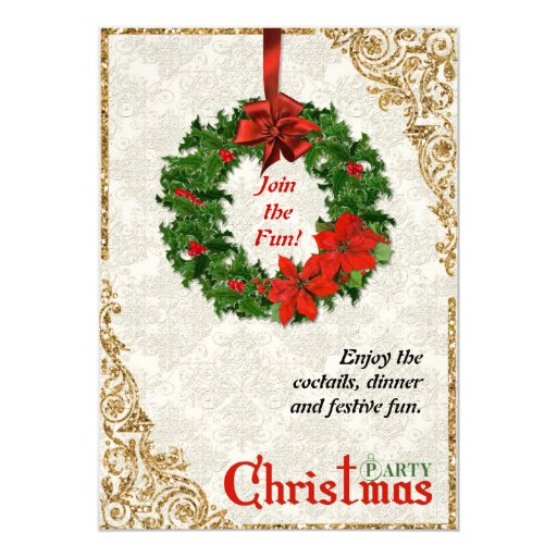 Christmas Wreath On Damask Party Invitation Zazzle