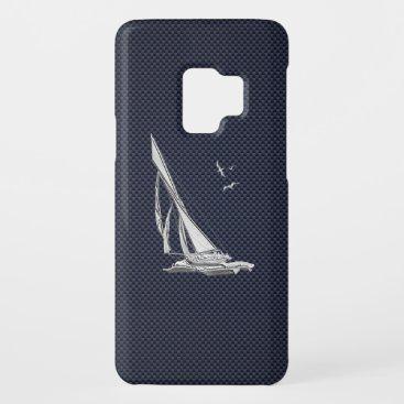 Chrome Sailboat on Carbon Fiber Print Case-Mate Samsung Galaxy S9 Case