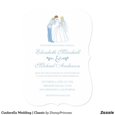 Cinderella & Prince Charming Disney Wedding Invitations