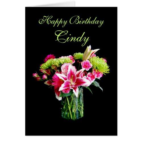 Cindy Happy Birthday, Stargazer Lily Bouquet Cards
