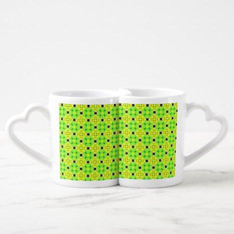 Circle Lattice of Floral Lime Green Modern Quilt Coffee Mug Set
