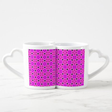 Circle Lattice of Floral Pink Violet Modern Quilt Coffee Mug Set