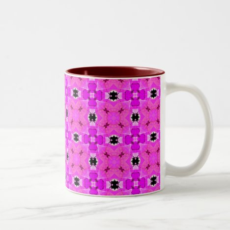 Circle Lattice of Floral Pink Violet Modern Quilt Two-Tone Coffee Mug