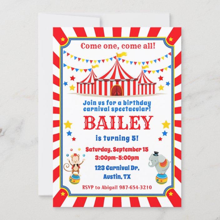 circus birthday invitation carnival invite zazzle com