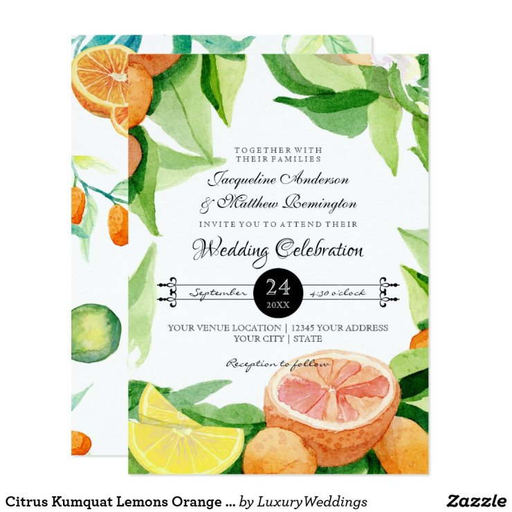 Citrus Kumquat Lemons Orange Typography Leaf Art Card