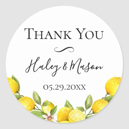 Citrus Orchard Wedding Thank You Favor Classic Round Sticker