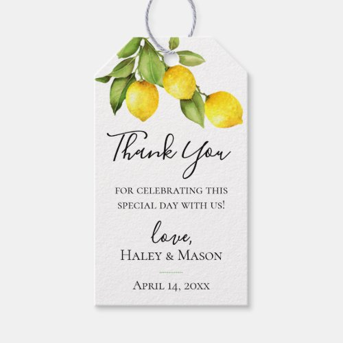 Citrus Orchard Wedding Thank You Gift Tag
