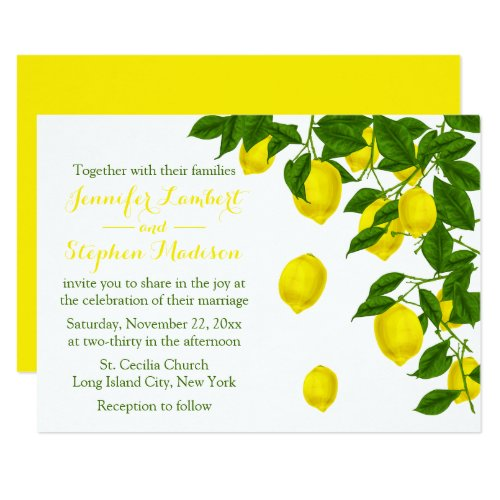 Citrus Yellow Lemon & Green Summer Wedding Card