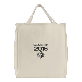 Class of 2015 & Your Initials Embroidered Bag