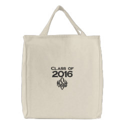 Class of 2016 & Your Initials Embroidered Bag