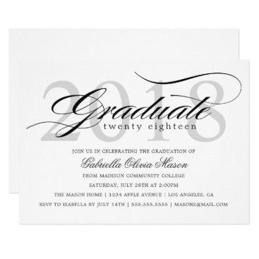 Class of 2018 Elegant Graduate Graduation Party Invitation