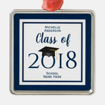 Class of 2018 Elegant Graduation Cap Graduate Metal Ornament