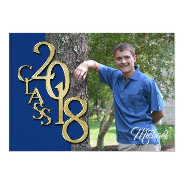 Class of 2018 Gold Photo Graduation Blue Card
