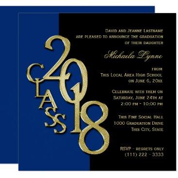 Class of 2018 Grad Midnight Blue and Gold Invitation