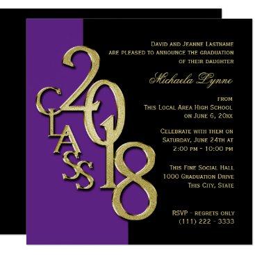 Class of 2018 Grad Purple and Gold Invitation