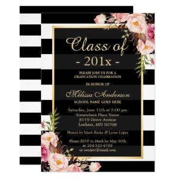 Class of 2018 Graduation Classy Floral Stripes Invitation