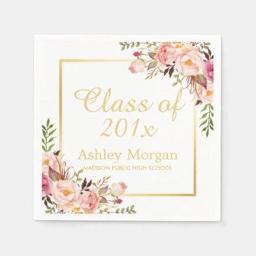 Class of 2018 Graduation Elegant Gold Chic Floral Napkin