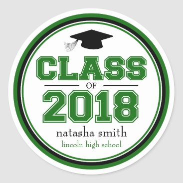 Class Of 2018 Graduation Favor (Green / Black) Classic Round Sticker