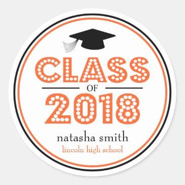 Class Of 2018 Graduation Favor (Orange / Black) Classic Round Sticker