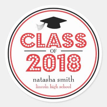 Class Of 2018 Graduation Favor (Red / Black) Classic Round Sticker