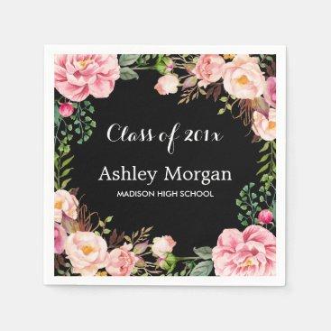 Class of 2018 Graduation Gorgeous Floral Wreath Paper Napkin
