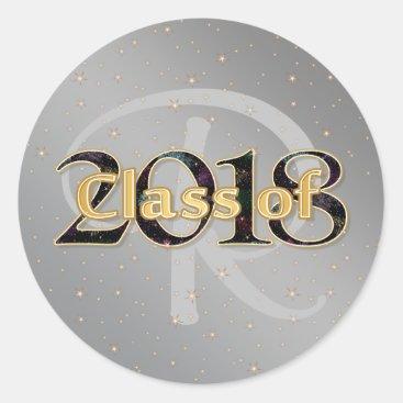 Class of 2018 Graduation Monogram Gold Typography Classic Round Sticker