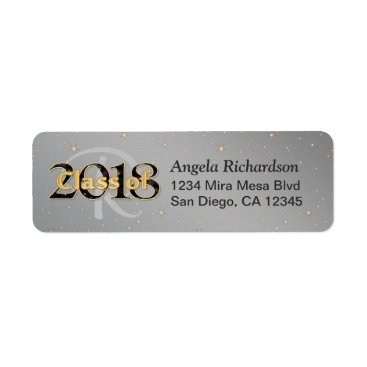 Class of 2018 Graduation Monogram Gold Typography Label