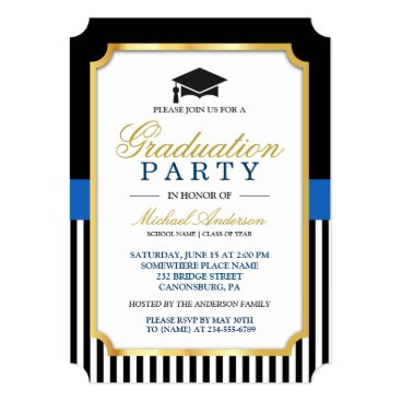 Class of 2018 Graduation Party Gold Ticket Stripes Invitation