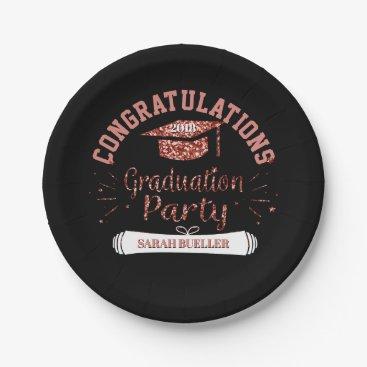 Class of 2018 Graduation Party Rose Gold Grad Cap Paper Plate