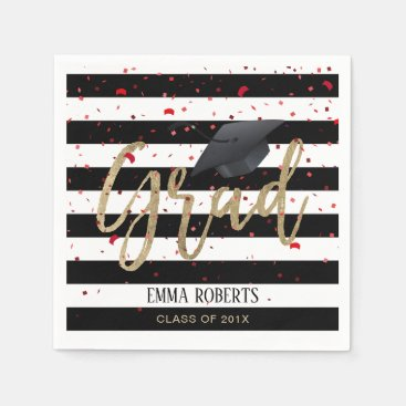 Class of 2018 Modern Stripes Graduation Napkin
