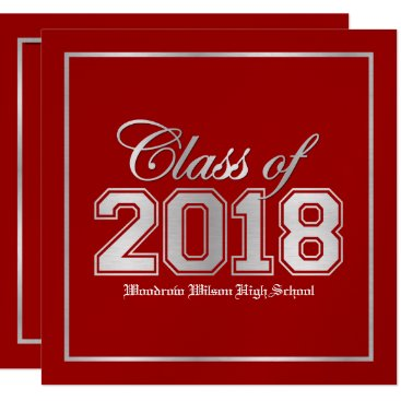 Class of 2018 Premium Red / Silver Graduation Card
