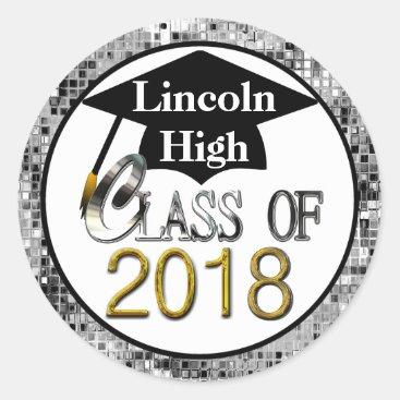 Class Of 2018 Sparkling Silver Graduation Seals