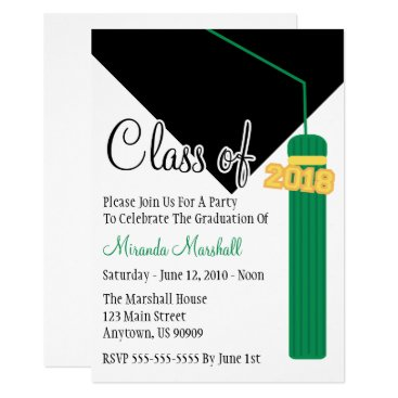 Class Of 2018 Tassel Graduation Invite (Green)