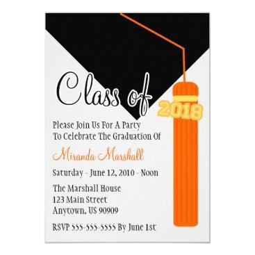 Class Of 2018 Tassel Graduation Invite (Orange)