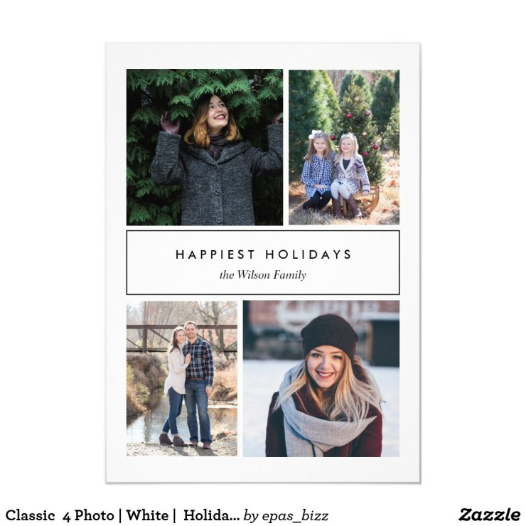 Classic  4 Photo | White |  Holiday Photo Invitation