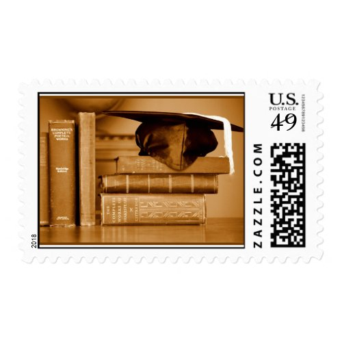 Classic Books on Graduation Day Postage Stamp