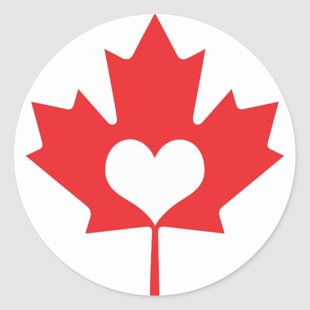 Classic Canadian Maple Leaf And Heart Canada Day Classic