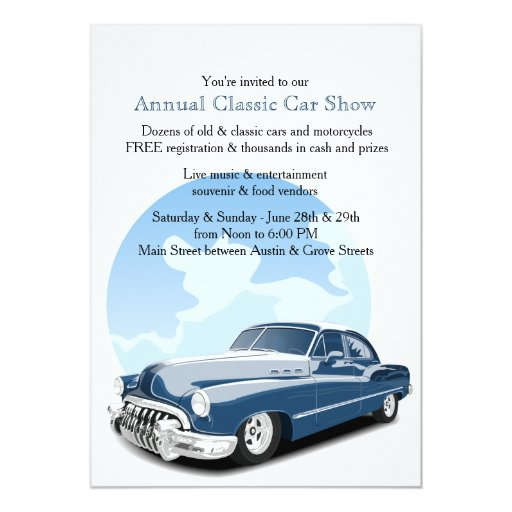 Classic Car Show Invitation Zazzle