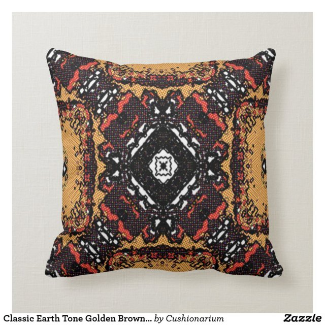 Classic Earth Tone Golden Browns Old World Pattern Throw Pillow