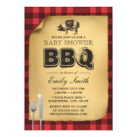 Classic Gingham Pig Roast BBQ Baby Shower Card