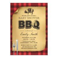 Classic Gingham Pig Roast BBQ Baby Shower Card