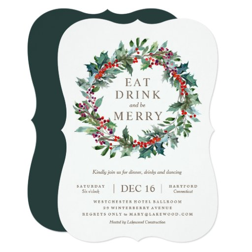 Classic Holiday Wreath Party Invitation