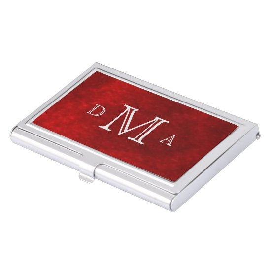 Classic Red Silver Monogram Business Card Holder