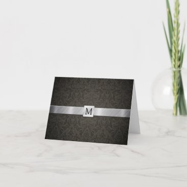 Classy Black Damask and Metallic Silver Thank You