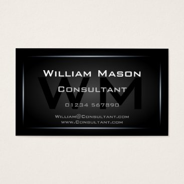Classy Black Framed Monogram Professional Business Card