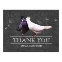 Classy Chalkboard Mr. and Mrs. Birds Thank You Postcard