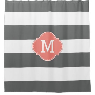 Classy Dark Gray and White Stripes with Monogram Shower Curtain