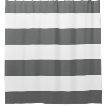 Classy Dark Grey and White Stripes Patterns Shower Curtain