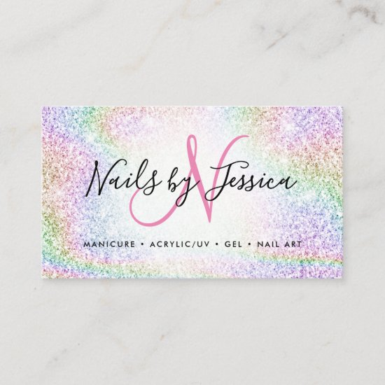 Classy holographic rainbow glitter elegant script business card